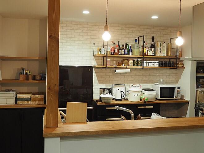 キッチン アクセントクロス 新居