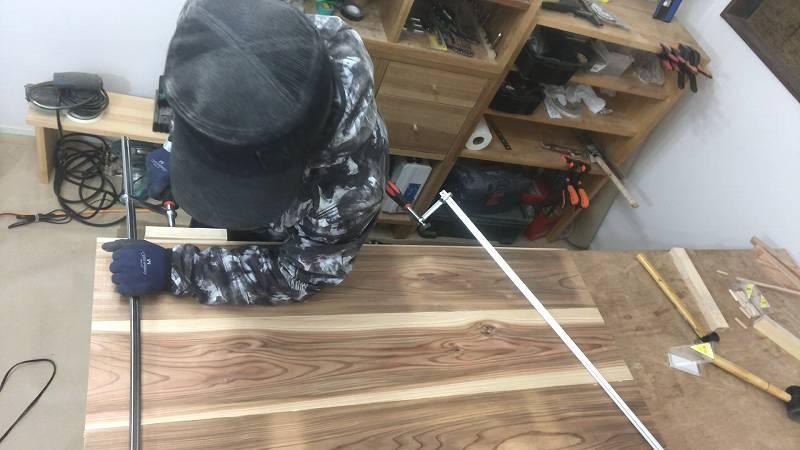 クランプ ダボ継ぎ DIY 木工 幅継ぎ 杉板 リビングテーブル