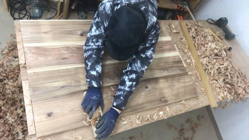 天板 反り 鉋 テーブル 木工 DIY