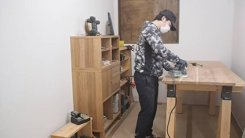 ボッシュ ランダムサンダー 木工 DIY 天板 テーブル