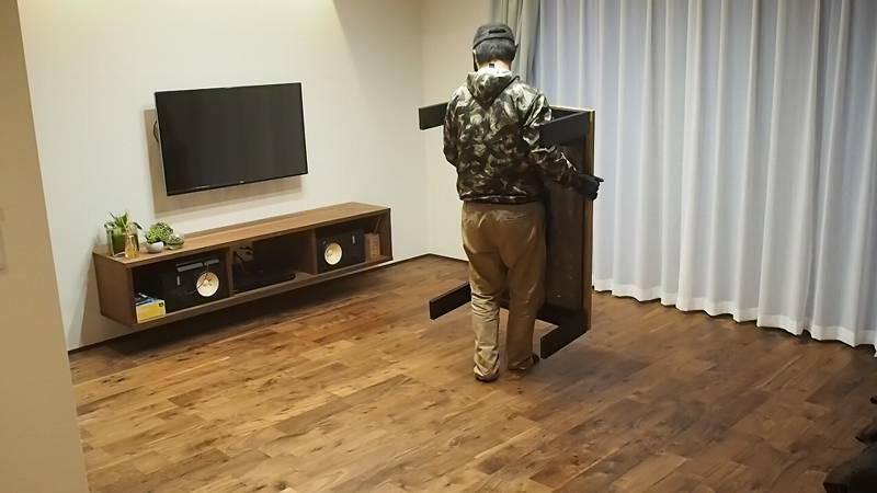 DIY リビングテーブル 設置 天板 リメイク