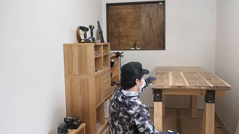 並び 木 カフェ板 リビングテーブル DIY