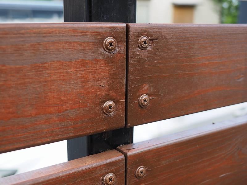 角パイプとSPF材でウッドフェンスを作る 木板 鉄パイプ 固定