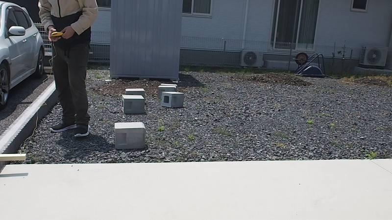 角パイプとSPF材でウッドフェンスを作る 位置だし