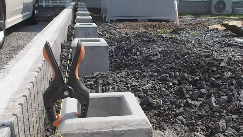 基礎ブロック 設置 水糸 並べる