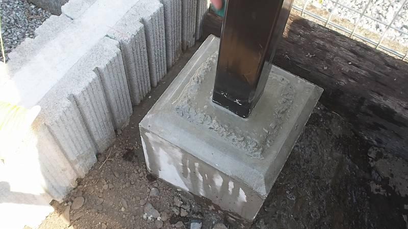 基礎ブロック 支柱 固定 モルタル 鉄 パイプ
