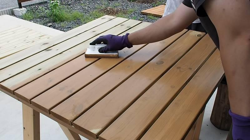 鋼製束とデッキ材を使用したウッドデッキを作る キシラデコール 塗装
