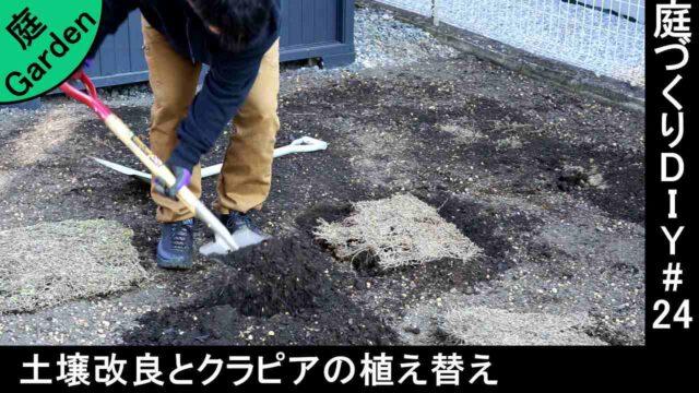 砂利を撤去した土を赤玉土と腐葉土で土壌改良して、クラピアを植え替えていく